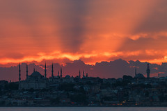 Sunrays over Sultan Ahmet (Blue Mosque) (aksoykaan1) Tags: sunset seaside clouds city cityscape historical sultanahmet mosque bluemosque beyazittower istanbul canon70d canon telephoto tamron150600 tamron sun sky