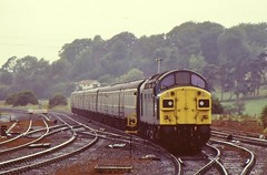 40143 IS SEEN APPROACHING MALTON ON 4 AUGUST 1984 WITH THE 0840 (SO) MANCHESTER TO SCARBOROUGH SERVICE (47413PART2) Tags: 40143 class40 brblue train