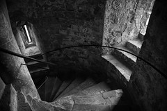 In the castle (V Photography and Art) Tags: mono blackandwhite bw texture walls stone castle medieval windows steps dover