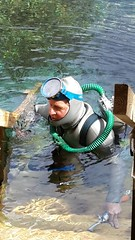 Vintage double hose scuba diver. (Vintage Scuba) Tags: double hose scuba diver dive us voit regulator wetsuit smooth skin rubber beavertail jacket pants tank mask fins harness weight belt