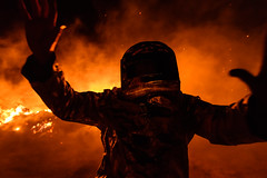 FIRE - Perth, Australia (Christian Clowes) Tags: nikon d500 street streetphotography christianclowes blazingswan fire flames candid red orange silhouette hazardsuit hazmatsuit hand hands