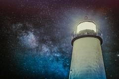 Some Nights... (trs125) Tags: milkyway lighthouse maine pemaquidpoint stars nightsky overprocessed sliderssunday