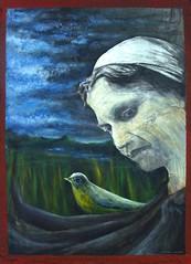 Los hambrientos piden pan... (Felipe Smides) Tags: violeta 100 100años violetaparra parra pájaro bird pintura painting felipesmides smides