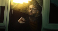 (nathanmagee) Tags: light spring self portrait story concept surreal grain green sun orange window reflection hand pose glasses