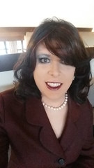 may 2017 - selfie at Restaurant Vogesenblick Breisach, lovely place (cilii_77) Tags: cd tv tg transgender crossdresser crossdressing dinner suit jacket lipstick elegant makeup pearls skirt