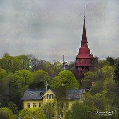 The Red Tower (Kerstin Frank art) Tags: tower red building house trees texture kerstinfrankart skansen stockholm sweden