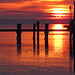 a dock in silhouette