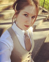Woman Kat Surth in Shirt Vest and Tie (kat_surth) Tags: kat surth katsurth tie ties vest womenwearingshirtandtie womenwearingshirtandties womenwearingties redhead woman tieandvest classy formal business office