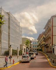 La Merced (Pedro1742) Tags: street buildings clouds yellowline people cars bollards balconies