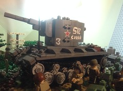KV-2 though mud and dirt. (BlackandWhiteBricks) Tags: tank lego soviet power large heavy artillery destroyer ww2 allies kv2 kv1 brickmania danielsiskind russia