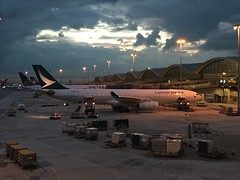 Cathay Pacific A330 (Simon_sees) Tags: hkg 330343 bhlo a330 airbus clouds vacation holiday travelling travel flying fly night evening gate ramp airport hongkong cx cathaypacific