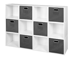 PC12PKWH_HTOTEGY (RegencyOfficeFurniture) Tags: niche regency cubo cubestorage modularstorage modular connecting connectable adaptable custom customizable cube square storageset closet organizer organization furniture cubes expandable home melamine laminate woodtone white whitewoodgrain pc12pk pc1211wh bins grey gray greystorage graytotes htotegy charcoal slate