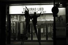 Would I lie to you? (No_Mosquito) Tags: vienna austria city centre night cinema monochrome dark lights urban people silhouette canon powershot g7x mark ii words billboard