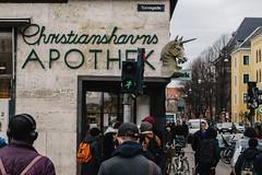 Crazy green light and unicorn (gribuvasaru) Tags: copenhagen street denmark unicorn
