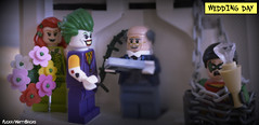 Wedding Day (WattyBricks) Tags: lego dc comics superheroes joker poison pamela isley alfred pennyworth robin jason todd dick grayson batman gotham rogues gallery macro panoramic