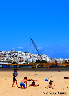 Kids at the beach, Tangier