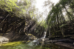 Lower Sabbaday Falls (Frank C. Grace (Trig Photography)) Tags: sabbaday waterfall waterfalls pool nature wideangle hdr highdynamicrange aurora hdrpro auorahdr2017 on1pics nikon d810 sun beams rays newhampshire nationalforest lincoln conway spring path rocks hiking hike