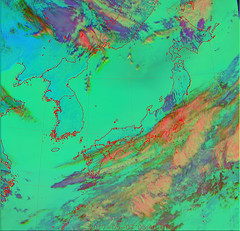 Dust Over the Sea of Japan and Hokkaido/Tohoku RGB (sjrankin) Tags: 7may2017 edited weather climate dust hokkaido japan jaxa korea koreanpeninsula pacificocean seaofjapan china russia himawari8 rgb