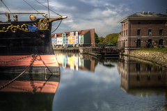 Colorful Reflections (Rik Tiggelhoven Travel Photography) Tags: colorful color colour reflection reflectie museum ship boat museumschip buffel dry dock building water harbour harbor hellevoetsluis holland netherlands nederland longexposure long exposure hdr canon eos 6d fullframe ef24105mmf4lisusm rik tiggelhoven travel photography clouds shadow chains