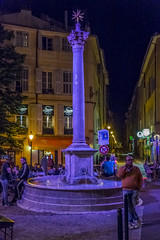 Fontaine des Augustins at Night (cunningba) Tags: 2014 aixenprovence europe fontainedesaugustins france placeaugustin activity fountain night nightlights nightlife street ©2014barrycunningham provencealpescôtedazur fr