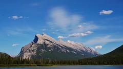 Mount Rundle (krystyna_piw) Tags: banff alberta canada rockies rundle mountrundle june spring sony lake vermilionlake majestic mount sky cloud clouds blue trees water