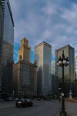 Winding down Wacker Drive (tquist24) Tags: chicago eastwackerdrive illinois nikon nikond5300 architecture car cars city cityscape clouds geotagged lamp lamppost road sky skyline skyscraper skyscrapers street window windows unitedstates