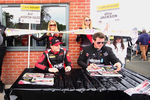 Ant Whorton-Eales and Ollie Jackson sign autographs at Oulton Park, May 2017