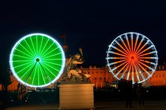 Life is a wheel of Fortune and it's my turn to spin it. (Đøn@tus ♠) Tags: wheeloffortune karlsruheschlos karlsruhepalace giantbike 232ndbirthdayofkarldrais nightlongexposurephotography rad outdoor lightinginthenight lunaparkatnight nightlight ruote panoramio langbelichtungszeit lucieombre colors colori colored night longexposure