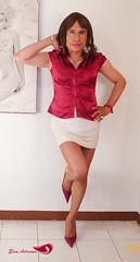 White miniskirt, red satin short sleeve blouse, wine stilettos (Elsa Adriana) Tags: elsaadriana elsa sexylegs skirts tgirl travesti transvestite tbabe mature mexican crossdresser