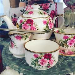 Porcelain Tea Service (LionessLeesha) Tags: rose creamer sugarbowl saucer teacup teapot tea porcelain instagramapp square squareformat iphoneography clarendon