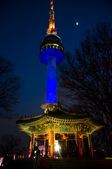N Seoul Tower (akira.nick66) Tags: asia asian coolcolor evening holiday lights multicolor night nightphotography nightscene nightscape seoul seoulntower seoultower shadows southkorea tour tourism travel tree tress vacation