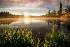 Beautiful morning (frantiekl) Tags: landscape sun dawn sky clouds water pond dew reflection nature trees fog sunshine rural morning bohemia