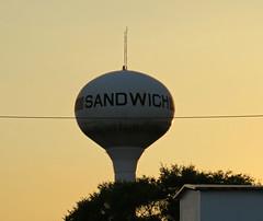 One of Sandwich's water towers [Explore 5/17/17 #421] (debstromquist) Tags: watertowers watertanks sandwich il illinois ruraltowns smalltowns twilight sunset inexplore