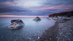 Soft Sunset Rocks (andrewpmorse) Tags: brucepeninsula brucepeninsulanationalpark ontario canada parks nationalparks sunset longexposure rocks lake lakehuron leefilters canon 1635mmf4l clouds landscape spring camping soft