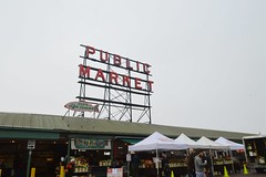Pike Place Market (tasagna) Tags: pikeplace market farmersmarket seattle pacificnorthwest washington grey fish pacific fog clouds rain travel city signage salmon pikeplacemarket
