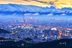 Taipei 101 Skyscraper (Jennifer 真泥佛) Tags: taipei101skyscraper 台北101 101 夜曝 taipei taipei101 taiwan 碧山巖 夕陽 sunset magichour landscape 風景 carlzeiss carlzeiss100mm