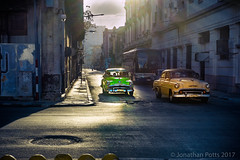 Side Street, Havana (I saw_that) Tags: cuba classic car street green yellow golden hour pavement road havana evening sun highlights intersection d4s 240700mmf28 dslr colour ciudad de la habana backlit central hss