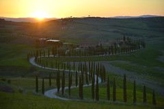 Toscana sundown (Frühtau) Tags: italy italia italien toscana toskana landscape landschaft sun down sonnen untergang beauty scene path road chypress tree zypressen hill farm italian building