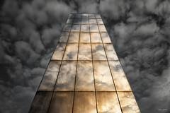 Torchwood Fans - Water Tower (Geoff Moore UK) Tags: torchwood stormyskies watertower plaza cardiffbay sunlight reflectedsunlight obalisk mirroredwatertower
