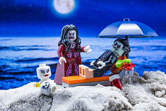"""""""Why don't you play with your daughter?!?!"""" (The Aphol) Tags: lego beach legography legophotography toy toyphotography vampire family relax monsters moon holiday minifigures"""