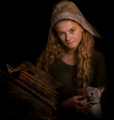 Katie loves Keisha (prueheron) Tags: purple fineart painterly oilpainting rembrandt oldmaster cat dutch girl reading book dark