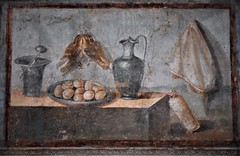 """""""Still life with silver vessels next to a tray of eggs and partridges"""" - wall painting from Pompeii, from the house of Julia Felix (before 79 AD) - Naples Archaeological Museum (Carlo Raso) Tags: stilllife naturamorta silver eggs partridges pompeii pompei archaeologicalmuseum naples italy"""