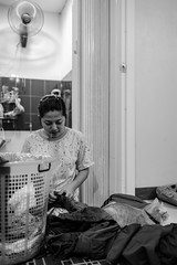 Laundry Day :D (Kompakin Borwornpakramil) Tags: nikon d5 afsnikkor35mmf18ged mywife laundry bw blackandwhite monochrome dailylife moodandatmosphere cat neko money