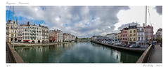 Bayonne  Panoramique (BerColly) Tags: france paysbasque bayonne pont bridge pontmayou nive riviere river rue ciel sky nuages clouds street maisons houses bercolly google flick
