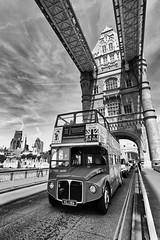 Routemaster crossing Tower Bridge (MKHardyPhotography) Tags: london mkhardy streetphotography blackandwhite routemaster monochrome towerbridge tower bridge distagont3518