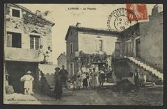 Lussas. - La Placette (Médiathèques Valence Romans agglomération) Tags: village place lussas charrette