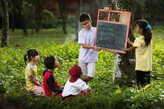 Learning (wu di 3) Tags: children learning blackboard chalkboard alphabet outdoor plantation rubber indonesia asia