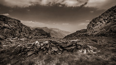 Rock of ages.... (Einir Wyn Leigh) Tags: landscape wales freedom walking view clouds mountains wall rocks rugged outdoors uk light happy tryfan wilderness solace lens texture