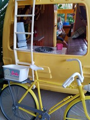 Barbie Star Traveler (moonpiedumplin) Tags: bike fishing ken camping kitchen cabinet bar ooak frame outdoors camp camper 1976 yellow motorhome rv traveler star scale 16 diorama fun slide party wicker furniture backyard mattel doll mansion custom diy repaint redo mcdonalds 80s pool patio cottage vintage house dream barbie