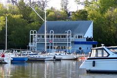Macassa Bay Yacht Club - IN EXPLORE (Lois McNaught) Tags: macassabayyachtclub yachtclub sailing building architecture boats hamilton ontario canada reflections spring marina oldbuilding